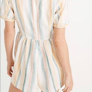 Madewell Linen Button-Wrap Romper in Stripe